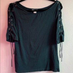 H&M Deep Teal Lace Shoulder Shirt